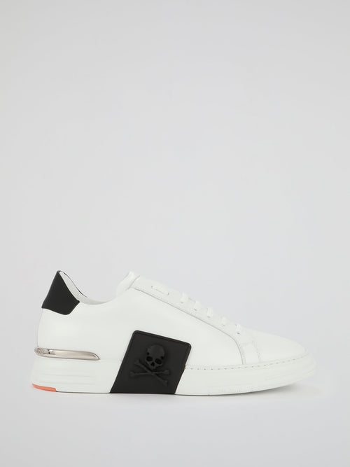 White Contrast Low Top Sneakers