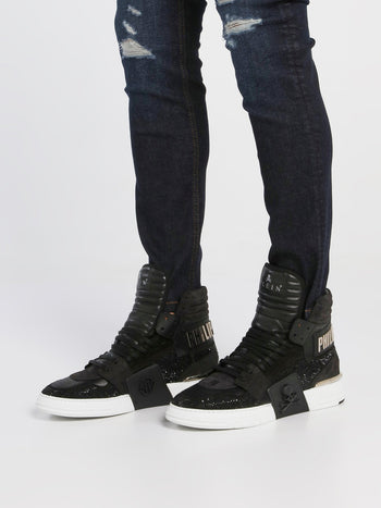 Black Crystal High Top Sneakers