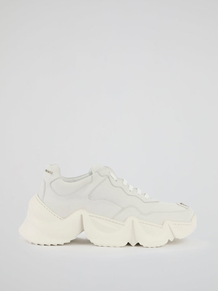 White Chunky Sole Skull Trainers