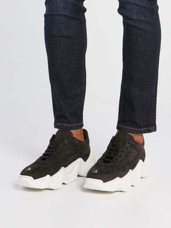 Black Chunky Sole Skull Trainers