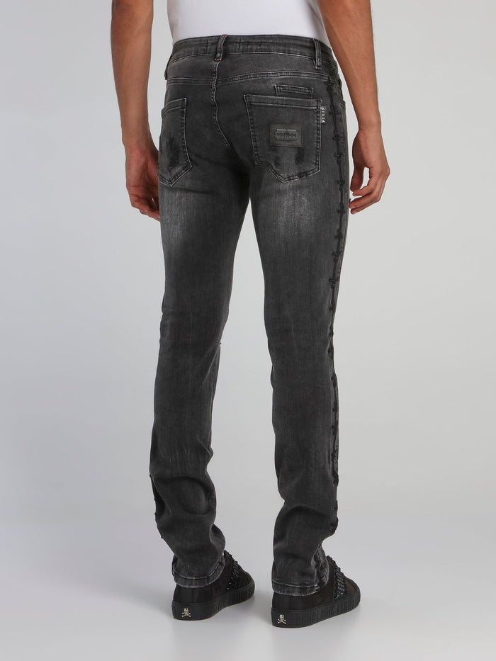 Grey Tattered Skinny Jeans