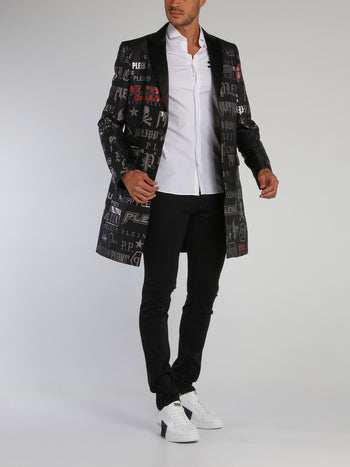 Black Statement Monogram Print Long Coat