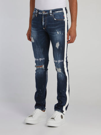 Gothic Plein Contrast Distressed Jeans