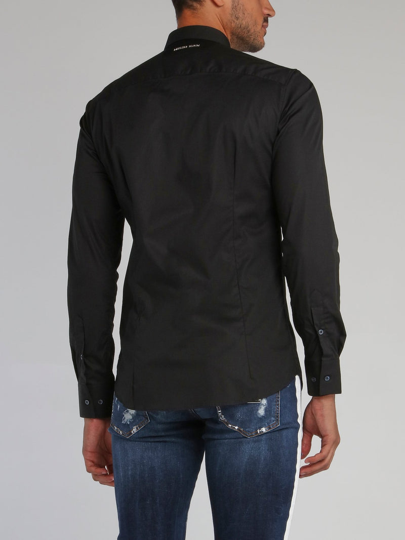 Black Skull Embroidered Shirt