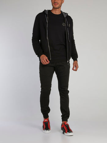 Black Quilt Sleeve Sweat Jacket
