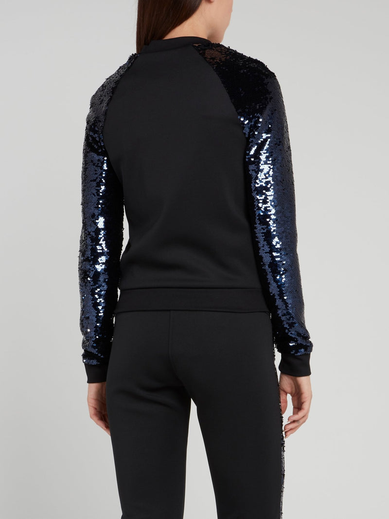 Black Sequin Sleeve Jacket