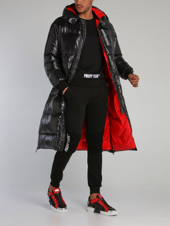 Black Logo Long Puffer Jacket