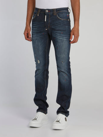 Rear Skull Distressed Straight Cut Jeans