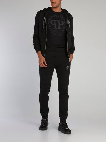 Black Rear Skull Print Sweat Jacket