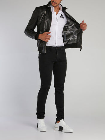 Black Quilt Panel Leather Jacket