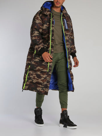 Camo Logo Long Puffer Jacket