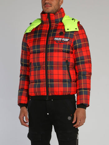 Red Check Puffer Jacket