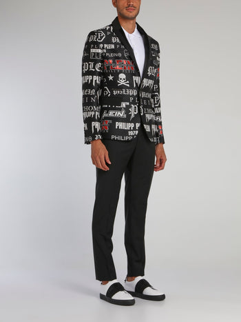 Black Monogram Print Statement Suit