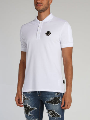 White Monogram Patch Polo Shirt