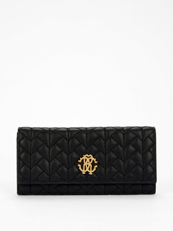 Black Quilted Continental Clutch