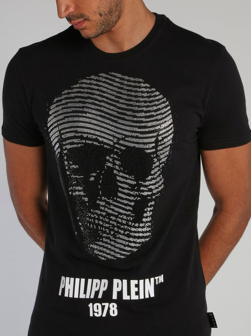 Black Embellished Skull T-Shirt