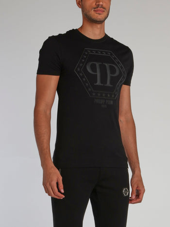 Black Embossed Monogram T-Shirt