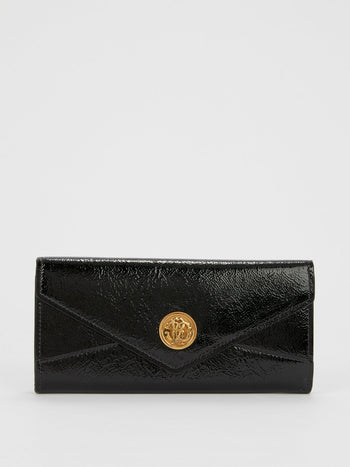 Black Vernicetta Continental Clutch