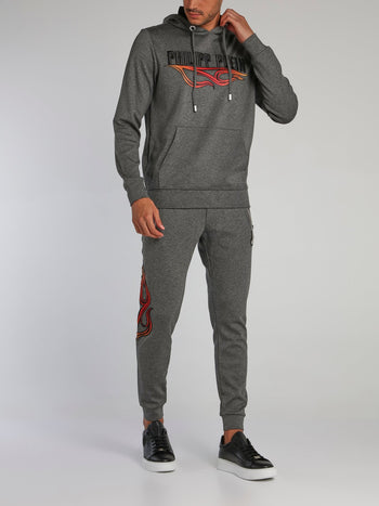 Grey Embroidered Drawcord Hoodie