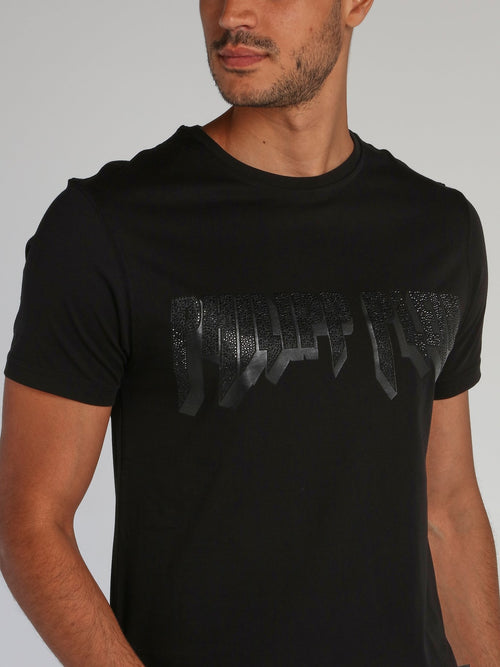 Rock PP Black Studded Logo T-Shirt