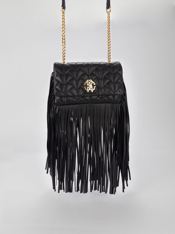 Black Fringe Nappa Shoulder Bag