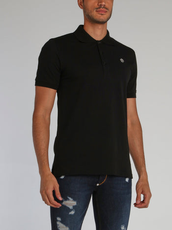 Black Monogram Appliquéd Polo Shirt