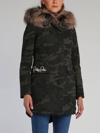 Detachable Fur Trim Camo Parka