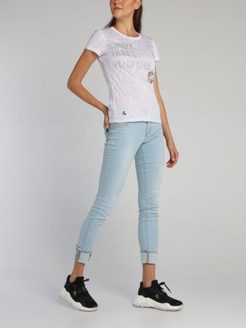 White Snake Effect Studded T-Shirt