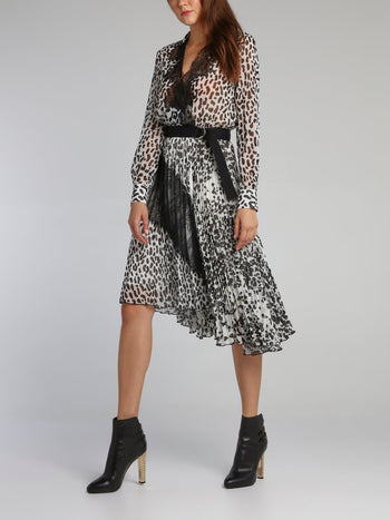 Leopard Print Accordion Midi Dress