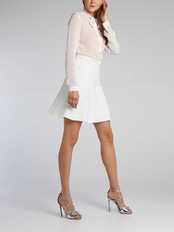 White Bow Tie Belted Mini Dress