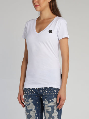 White Rear Crystal Logo V-Neck T-Shirt