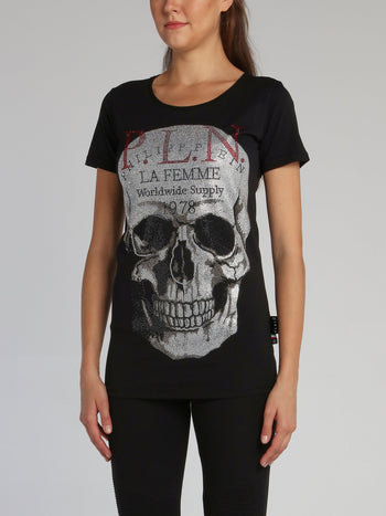 Black Crystal Skull Crewneck T-Shirt