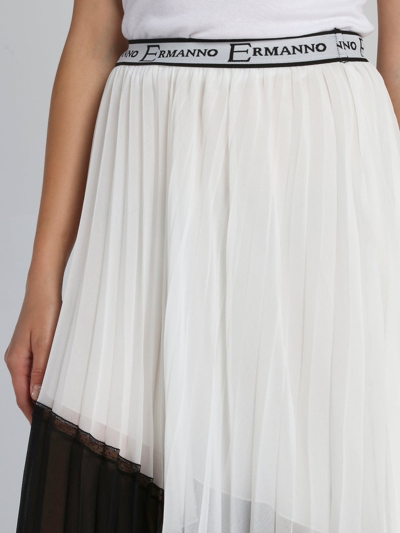 Two Tone Accordion Asymmetric Skirt