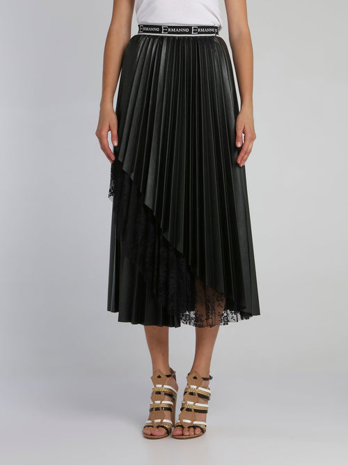 Black Lace Detail Accordion Skirt