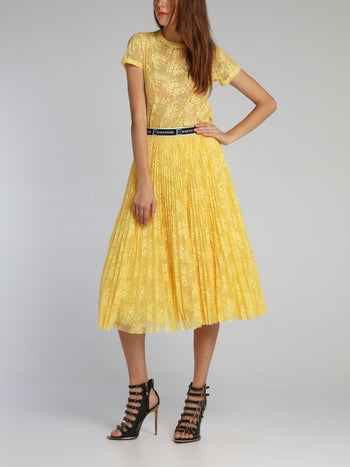 Yellow Accordion Tulle Midi Skirt