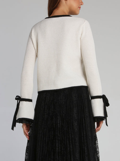 White Ribbon Cuff Knitted Top