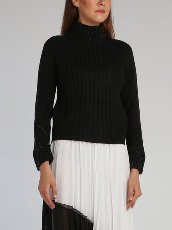 Black Studded Turtleneck Sweater