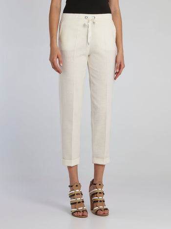 Off White Drawcord Capri Pants