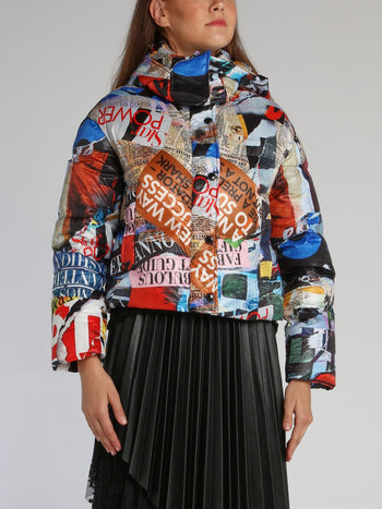 Newspaper Print Down Jacket