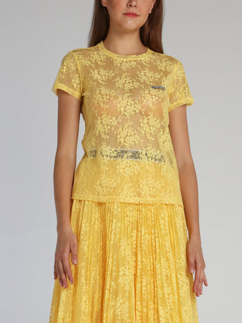 Yellow Floral Lace T-Shirt