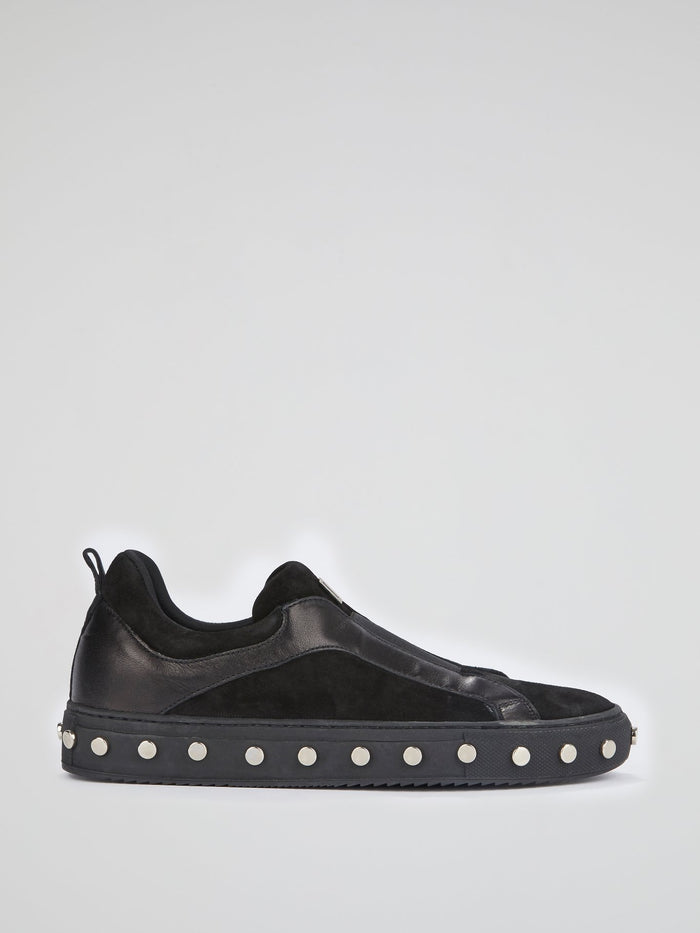 Black Studded Sole Slip On Sneakers
