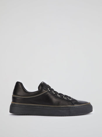 Black Zip Detail Leather Sneakers