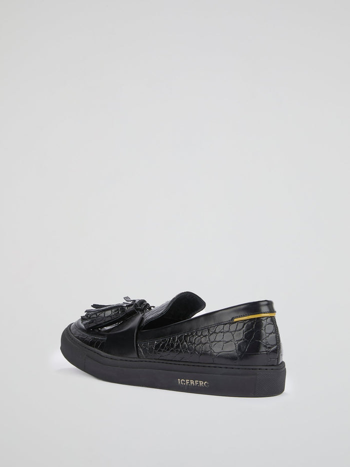 Black Crocodile Effect Tassel Loafers