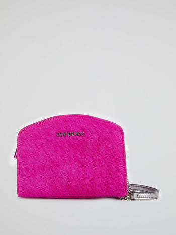 Fuchsia Pony Hair Effect Shoulder Bag