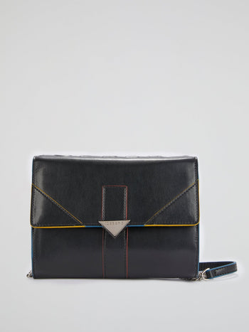 Black Flap Leather Shoulder Bag