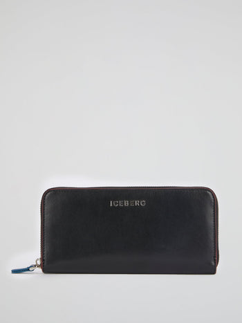 Black Logo Zip-Around Wallet