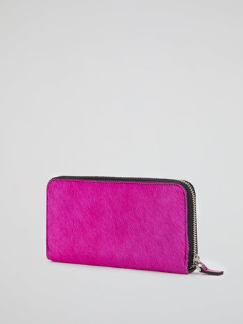 Pony Hair Effect Zip-Around Wallet