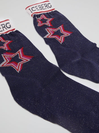 Navy Star Print Glitter Socks