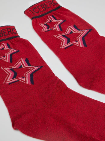 Red Star Print Glitter Socks