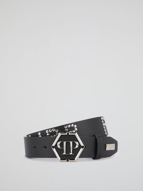 Black Statement Studded Belt